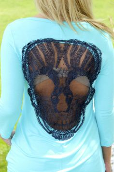 Skull Chic Top: Turquoise