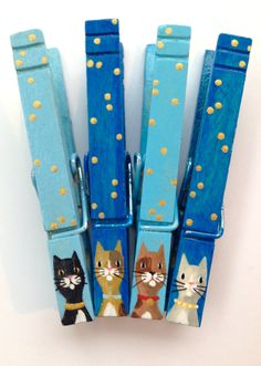 CAT CLOTHESPINS turquoise hand painted magnetic grey cat brown cat calico cat gold spots by SugarAndPaint on Etsy
