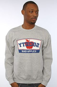 Society Original Products The Bad Apples Crewneck Sweatshirt in Heather Gray