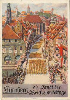 "Nazi postcard for Nuremberg, the city of the Party Rally/Day (""der Stadt der Reichsparteitage"")"