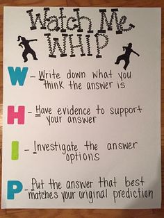 test taking strategies-Watch me whip anchor chart - test prep (predicting) Test Taking Strategies, Teaching Strategies, Teaching Tips, Teaching Reading, Test Strategy, Teaching Techniques, Writing Strategies, Writing Lessons, Reading Passages