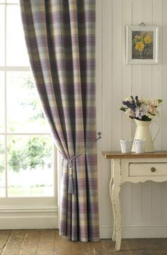Love these in blue or beige for the hallway or purple for the bedroom ! Abraham Moon and Sons Ltd, Guiseley Leeds, UK - Furnishings - Moorland New Living Room, Living Room Decor, Living Area, Tartan Curtains, Up House, Curtains With Blinds, Lounge Curtains, Soft Furnishings, Decoration