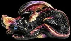 Mother Dragon - Black Gold Painted Fantasy Figurine. $126.00