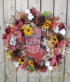 Western Cowboy Wreath-Welcome Y'all Mesh Wreath-Country Mesh Wreath-Sunflower Wreath-Western Burlap Mesh Wreath-Cowboy Boot Cotton Wreath by CoyoteCountryMarket on Etsy Western Wreaths, Country Wreaths, Rustic Wreaths, Summer Wreath, 4th Of July Wreath, Cowboys Wreath, Cotton Wreath, Sunflower Wreaths, Wooden Letters