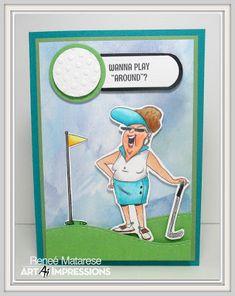 Renlymats World Art Impressions 4902 Par Tee Golfers Set Handmade Golf Birthday CardsBirthday Cards For WomenGolf CardsArt