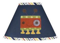 Navy Blue Stripe Lamp Shade for Modern Robot Bedding Collection