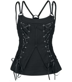 Poizen Industries - Sally Vest Top - Black [SALLY TOP] - £27.49 :