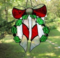 Stained Glass Christmas Wreath