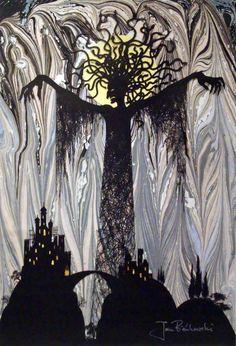 The wicked fairy in cloud and mist by Jan Pienkowski Jan PienkowskiThe Kingdom Under The Sea