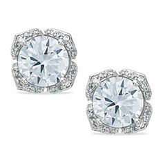 8mm D/VVS1 Simulated Diamond Flower Stud Earrings 14K White Gold Over Sterling by JewelryHub on Opensky