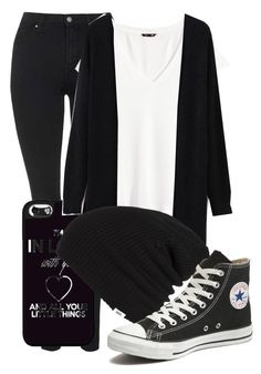 """""""All black everything"""" by theresa918 ❤ liked on Polyvore featuring Topshop, H&M, Vans and Converse"""