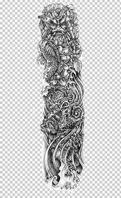 Sleeve Tattoo Irezumi Drawing PNG - art, artwork, blackandgray, black and white, body modification Buddah Sleeve Tattoo, Tribal Sleeve Tattoos, Tattoo Sleeve Designs, Sleeve Tattoos For Women, Tattoo Designs Men, Black Tattoos, Body Art Tattoos, Traditional Style Tattoo, Tattoo Video
