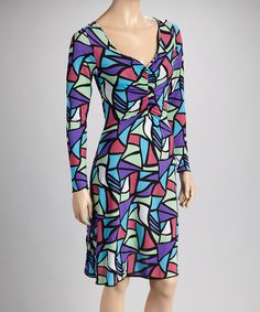 Take a look at this Purple & Coral Geometric Long-Sleeve V-Neck Dress on zulily today!