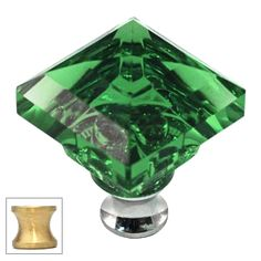 Green Square 1-1/4'' Crystal Knob with Satin Brass Base