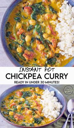 Instant Pot chickpea curry is a quick, flavorful dinner in under 30 minutes! Made with pantry staples and fresh spinach, this easy, plant-based curry dish is always a hit at potlucks and family dinners. Easy Meat Recipes, Side Dish Recipes, Organic Recipes, Indian Food Recipes, Vegetarian Recipes, Cooking Recipes, Healthy Recipes, Ethnic Recipes, Curry Recipes