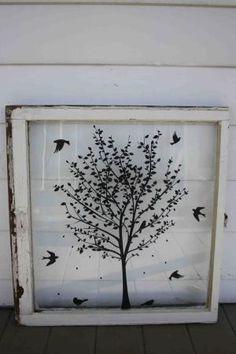 Great idea for vinyl on an old window~ by Hercio Dias
