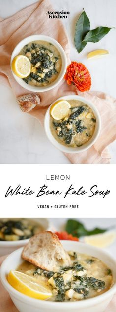 A lemony White Bean Kale Soup – warming, Tuscan style and super satisfying. Vegan and gluten free. #whitebeankalesoup #whitebeankalesoupvegtarian #whitebeankalesoupvegan #whitebeankalesoupwinter #whitebeankalesouphealthy #whitebeankalesoupcrockpot #whitebeankalesouptuscan #whitebeankalesoupglutenfree #whitebeansoup #whitebeansoupvegetarian #whitebeansoupvegan #whitebeansouptuscan #whitebeansoupeasy #AscensionKitchen // Pin to your own inspiration board! //