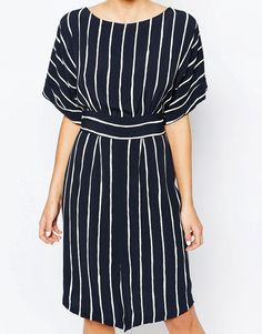 Image 3 of Closet Kimono Sleeve Midi Dress With Tie Back Detail And Split Front