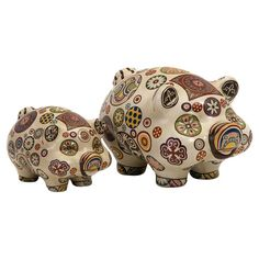2 Porcelain pig statuettes with multicolor medallion detailing.   CUTE!     Product: Small and large statuetteConstruction Mater...