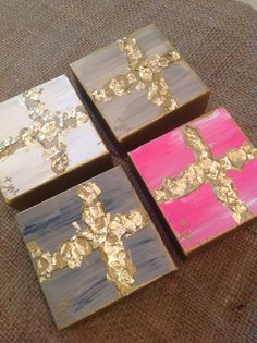 "Crosses on canvas 4""x4"" $20 by Jenn Meador Paint. Email to purchase jennmeadorpaint@gmail.com"