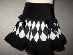 New Girls Black White Harlequin Check Frilly Gift Punk Goth Party Rock Skirt