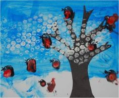 Preschool Crafts for Kids*: Winter Tree Fingerpainting Bubble Wrap Craft