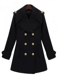 Free Shipping Black Lapel Long Sleeve Double Breasted Tweed Coat (Auction ID: 163339, End Time: : 22 Jan. 2013 23:09:07) - Online Auctions - BidLazy