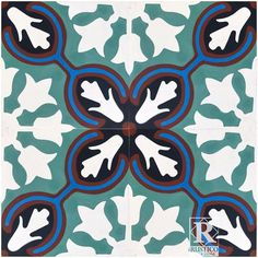 """Avallon Encaustic 7.87"""" x 7.87"""" Cement Field Tile in Turquoise/White"""