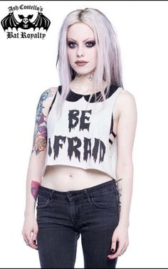 Be Afraid Bat Royalty Crop Top Tank - by Iron Fist & Ash Costello - sz 2X only