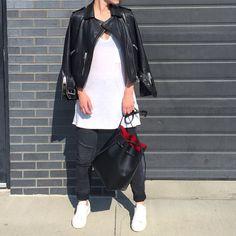 All Saints Leather Jacket. Mansur Gavriel Bucket Bag. #streetstyle - OVRSLO