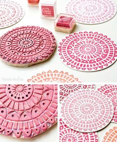 Using a compass draw directly onto stamp/lino and work the finer details using geometry. Clay Stamps, Stamp Printing, Printing On Fabric, Buy Fabric, Homemade Stamps, Eraser Stamp, Diy Accessoires, Stamp Carving, Fabric Stamping