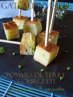 Gateau Invisible Aux Pommes de Terre et Courgettes Finger Food Appetizers, Finger Foods, Appetizer Recipes, Saveur, Celery, Pineapple, Cheese, Fruit, Vegetables