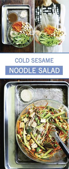 Served cold, this recipe for Sesame Brown Rice Noodle Salad is perfect for summer entertaining thanks to its refreshing crunch. Grab the broccoli, tofu, carrots, cucumbers, edamame, and sesame seeds to make this side dish for your next potluck. Cold Sesame Noodle Salad Recipe, Cold Sesame Noodles, Tofu Noodles, Tofu Salad, Carrot Salad, Salad Recipes, Vegan Recipes, Cooking Recipes, Vegan Food
