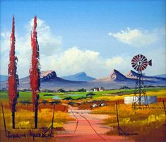 Pieter van Heerden - Colourful Landscape 2 - 350 x 300 Watercolor Landscape, Landscape Art, Landscape Paintings, Oil Paintings, Painting Gallery, Art Gallery, Windmill Art, South African Artists, Cottage Art