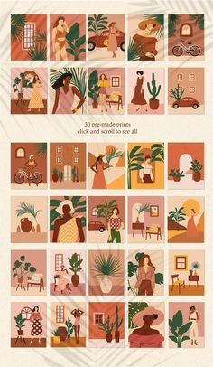 """Feminine Summer"" Illustrations Set by Katerina Osa on Small Canvas Art, Diy Canvas Art, Graphic Design Illustration, Illustration Art, Illustrations, Graphic Art, Foto Art, Aesthetic Stickers, Aesthetic Art"