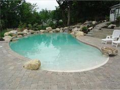 Waterfall,Koi pond, Water feature, inground beach entry swimming pool and pond pictures. Swimming Pool Landscaping, Swimming Pool Designs, Swimming Pools, Backyard Pools, Driveway Landscaping, Landscaping Design, Zero Entry Pool, Beach Entry Pool, Walk In Pool