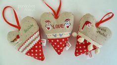 pontinhos meus: Corações de Natal - Christmas Hearts