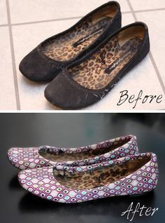 Old Shoes + Fabric & Mod Podge = New Shoes.  I actually have a pair I was considering throwing out due to being scuffed beyond reason.  Maybe I will give this a try!