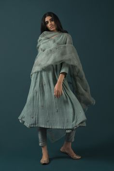 Good Earth - Mehrunissa:Aabnoor Teal Ensemble (Set of Pakistani Fashion Casual, Pakistani Outfits, Asian Fashion, Indian Outfits, Pakistani Couture, Indian Attire, Indian Ethnic Wear, Salwar Designs, Blouse Designs