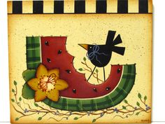 Primitive Watermelon and Crow Sign, Handpainted Wood, Home Decor, Wall Art. $9,95, via Etsy.