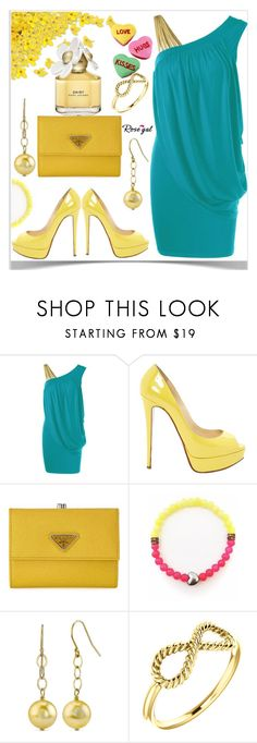 """""""One Strap Skew Collar Slimming Drape Dress"""" by semir-damira ❤ liked on Polyvore featuring Christian Louboutin, Prada and Marc Jacobs"""