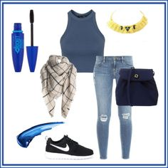 A fashion look from February 2016 featuring blue vest, vintage jeans and nike sneakers. Browse and shop related looks. Blue Vests, Vintage Jeans, Frame Denim, Maybelline, Topshop, Sneakers Nike, Fashion Looks, Polyvore, Outfits