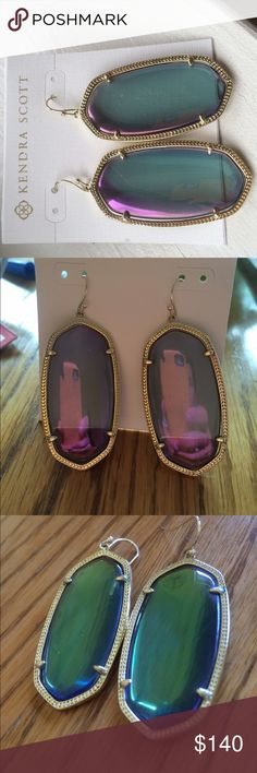 Kendra Scott Danielle Earrings Mystic Iridescent Stunning Kendra Scott Danielle earrings in Mystic Iridescent! First two pics show purpler iridescent side third pic shows greener iridescent side! These are flawless! Comes with dust pouch and care care! $100 through ️aypal! Kendra Scott Jewelry Earrings
