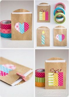 Simple party favor gift bags made with washi tape! Perfect for DIY wedding, birthday, graduation, and more. Just use little brown paper bags and let the washi tape be your fun design. Small Gift Bags, Small Gifts, Diy And Crafts Sewing, Diy Crafts, Washi Tape Crafts, Washi Tapes, Pretty Packaging, Gift Packaging, Packaging Ideas