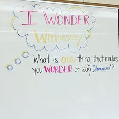 "I Wonder Wednesday.What is one thing that makes you WONDER or say ""hmmmmm? School Classroom, Classroom Activities, Classroom Design, Future Classroom, Classroom Ideas, Daily Writing Prompts, Daily Journal Prompts, Writing Lab, Journal Topics"