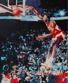 Dominique Wilkins Atlanta Hawks Oil on Canvas Painting