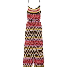 Missoni Metallic crochet-knit jumpsuit found on Polyvore featuring jumpsuits, bronze, colorful jumpsuit, knit jumpsuit, loose fit jumpsuit, cocktail jumpsuit and holiday jumpsuits