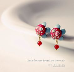 Little Flowers Found handmade studs in red and turquoise. Made to order.