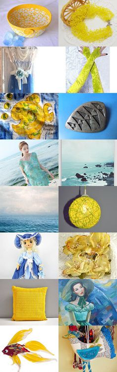 sun and sky fashion by Charlotte Handmade on Etsy--  #etsy #treasury #yellow #blue #basket #bowl #summer #sunshine #sunny #canary  Pinned with TreasuryPin.com