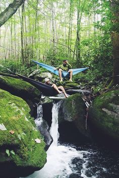 The best place to relax on Labor Day. #hammock #waterfall #gearcoop